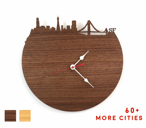 San Francisco Skyline Time Zone Clock - SF Cityscape Art Clock - Long Distance Relationship Gift