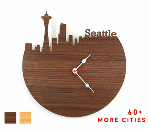 Seattle Skyline Time Zone Clock - Seattle Cityscape Art Clock - Long Distance Relationship Gift