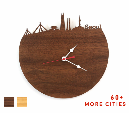 Seoul Skyline Time Zone Clock - Cityscape Art Clock - Long Distance Relationship Gift
