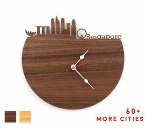 Singapore Skyline Time Zone Clock - Cityscape Art Clock - Long Distance Relationship Gift