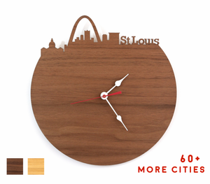 St Louis Skyline Time Zone Clock - Cityscape Art Clock - Long Distance Relationship Gift