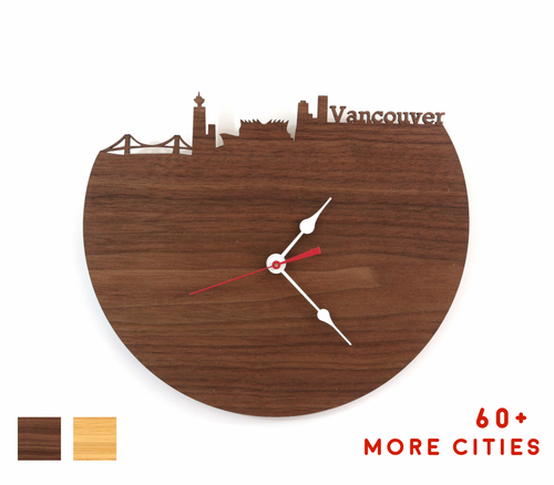 Vancouver Skyline Time Zone Clock - Cityscape Art Clock - Long Distance Relationship Gift