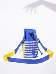Simone - Imperial Blue with Striped Silver Mirror Weaving & Saffron details