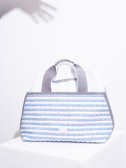 Sloan - Blazing White with Striped Sky Blue Weaving &