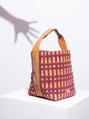 Cassi - Tan with Chequer Burgundy Weaving