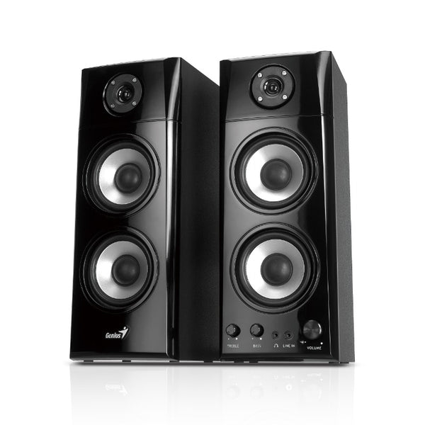 Genius SP-HF1800A 3-Way Hi-Fi Wood Speakers for PC, MP3 players, and Tablets | WIRED SPEAKER