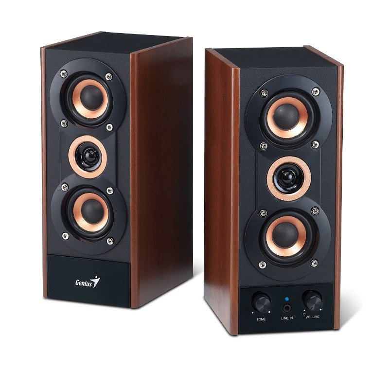 Genius SP-HF800A 3-Way Hi-Fi Wood Speakers for PC, MP3 players, and Tablets | WIRED SPEAKER