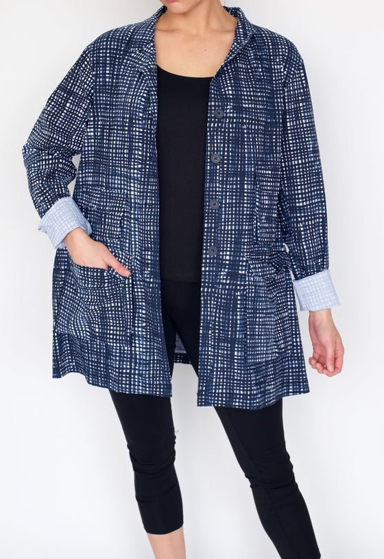 Rundholz Coat in Blue Check