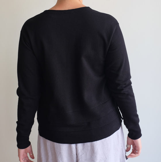 Wilt Black Boxy Mock Hem Sweatshirt Snap Side