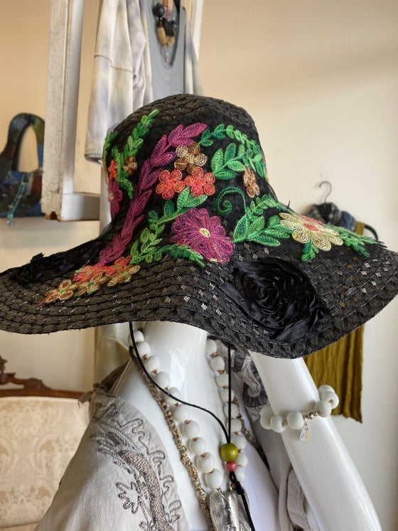 Petrushka Wide Brim Flower Hat