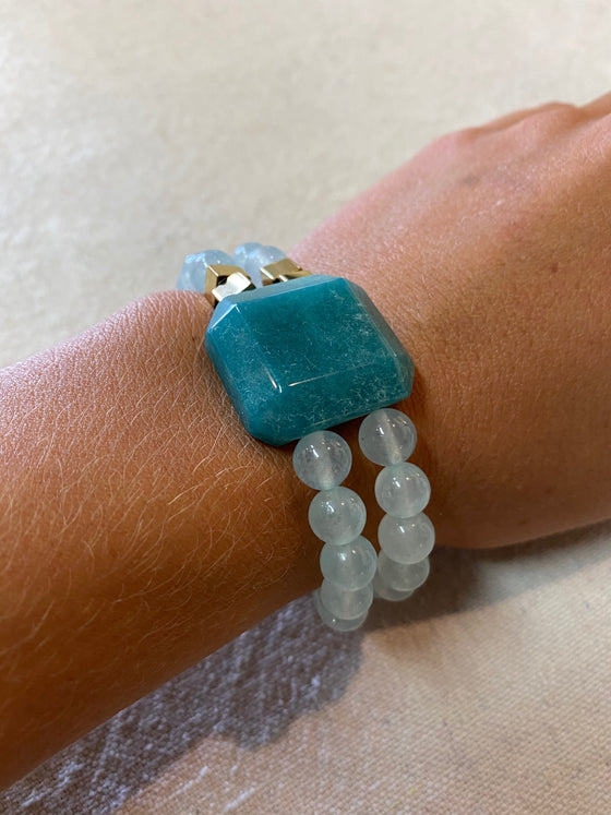Blue Onyx Double Beaded Bracelet
