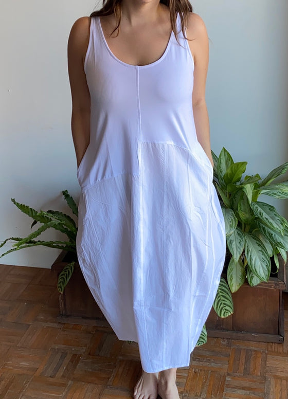 Alembika White Cotton Tank Dress