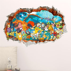 3d Bursting Effect Pokémon Mural Decal - nintendo-core