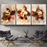 Donkey Kong 3 Piece Canvas Painting - nintendo-core