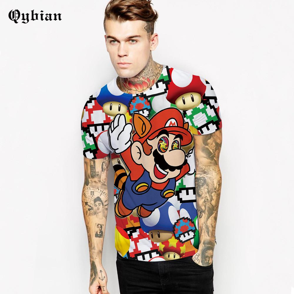 Fitted 3D Mario Qybian Collage T-Shirt - nintendo-core