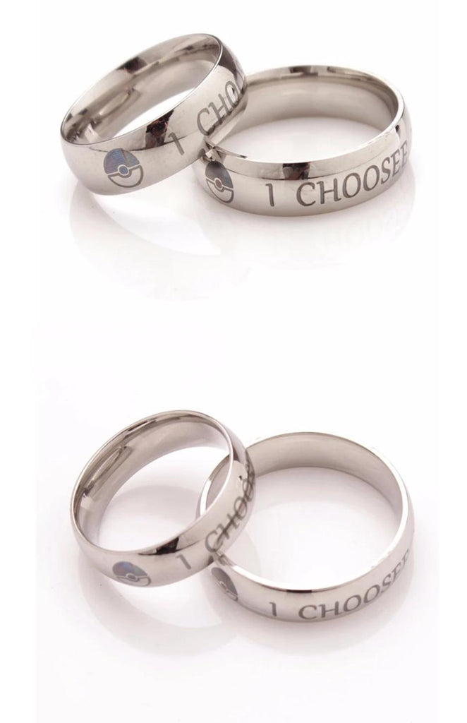 Pokemon \u0026quot;I Choose You Ring\u0026quot; Couples Stainless Steel Rings ...