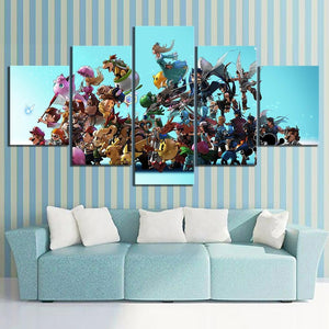 Super Smash Brothers 5 Piece Canvas Painting - nintendo-core