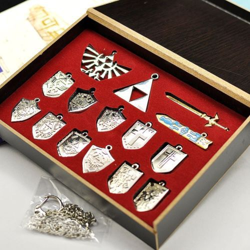 The Legend of Zelda Hylian Shield & Master Sword Keychain / Necklace Set