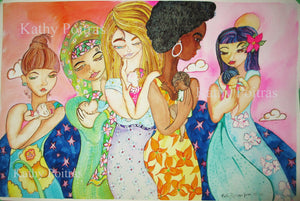 "A new painting. ""We all love our babies"" A celebration of diversity and motherhood"