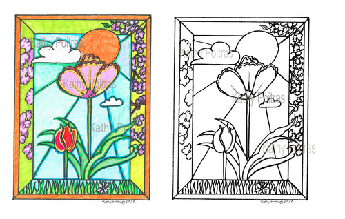 Print your own, two tulips in the park.