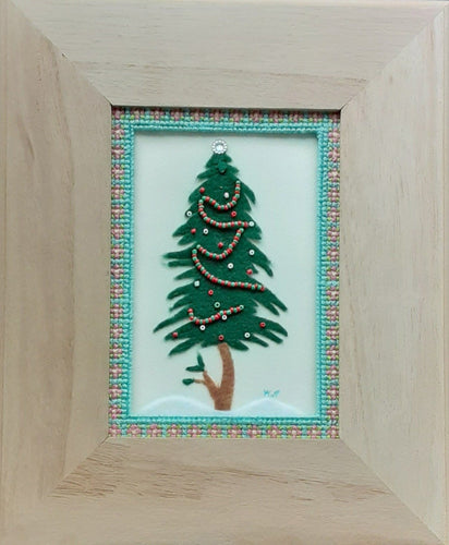 Felt Christmas Tree with beaded garland. Cross stitch mat  and wooden frame