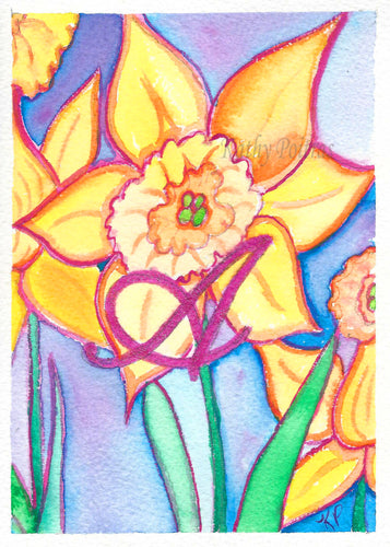 Greeting Card, Birthday Card, Mothers Day Card, Daffodils are the flower of the month for March. This flower of the month card is personalized with a fancy letter A .   by artist Kathy Poitras