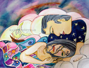 "fine art print of  ""After the Storm"" is a naive expressionist painting of a man comforting a woman. They lay in a bed of clouds, he wears a shirt of stars. She has a quilt of time, with a burning boat beside them.  looks and feels like a watercolor painting."