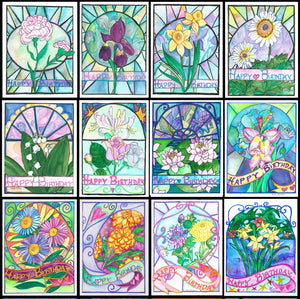 12 flower of the month Birthday cards by artist Kathy Poitras.