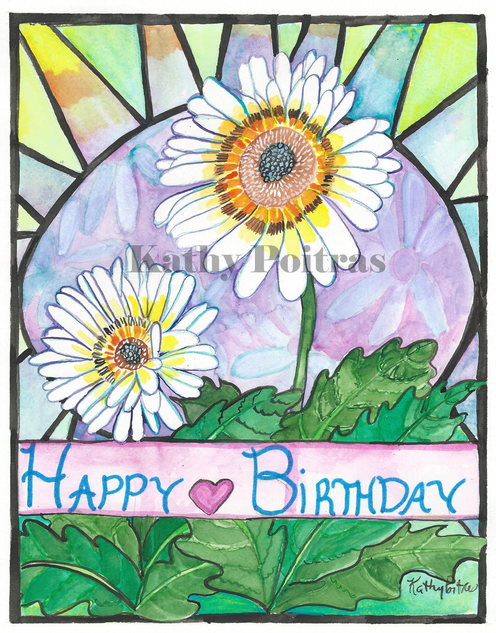 Hand Made Birthday Card. April Birth Flower of the Month , Daisy