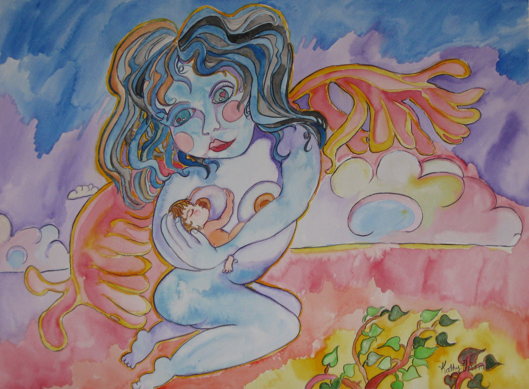 Naïve painting of a young mother angel nursing a new tiny baby while flying above the clouds.