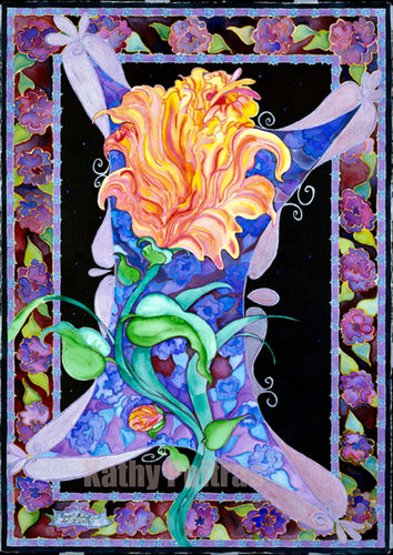 An expressionist painting loosely based on a yellow and pink rose.   Large watercolor and ink. Black background.  Silky looking floral boarder. Purples and blues. Pearlescent paints highlighting certain portions. Kathy's expression of a being moving through her own universe.