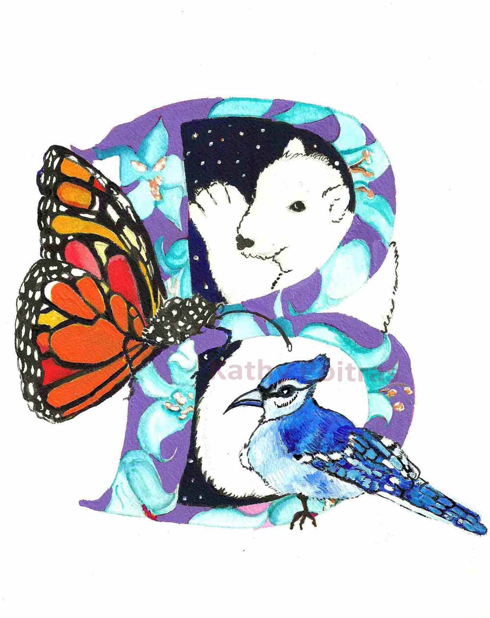 Illustrated letter B is for Butterfly, Bear and Blue Jay.