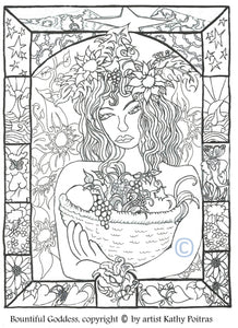 Print your own, color your own Bountiful Goddess