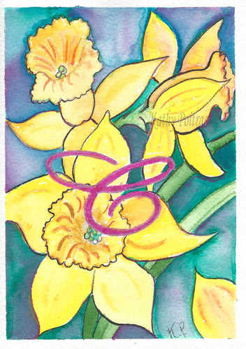 Greeting Card, Birthday Card, Mothers Day Card, Daffodils are the flower of the month for March. This flower of the month card is personalized with a fancy letter C.   by artist Kathy Poitras