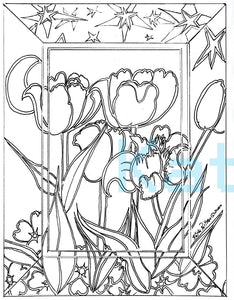 Print your own, color your own, cosmic tulips
