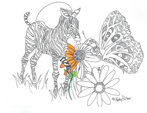Print your own, color your own Zebra, Butterfly and Ladybug