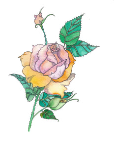 Print your own, color your own rose with buds