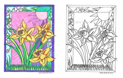 Print your own, color your own, daffodils from my front yard