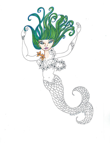 Print your own, color your own Mermaid