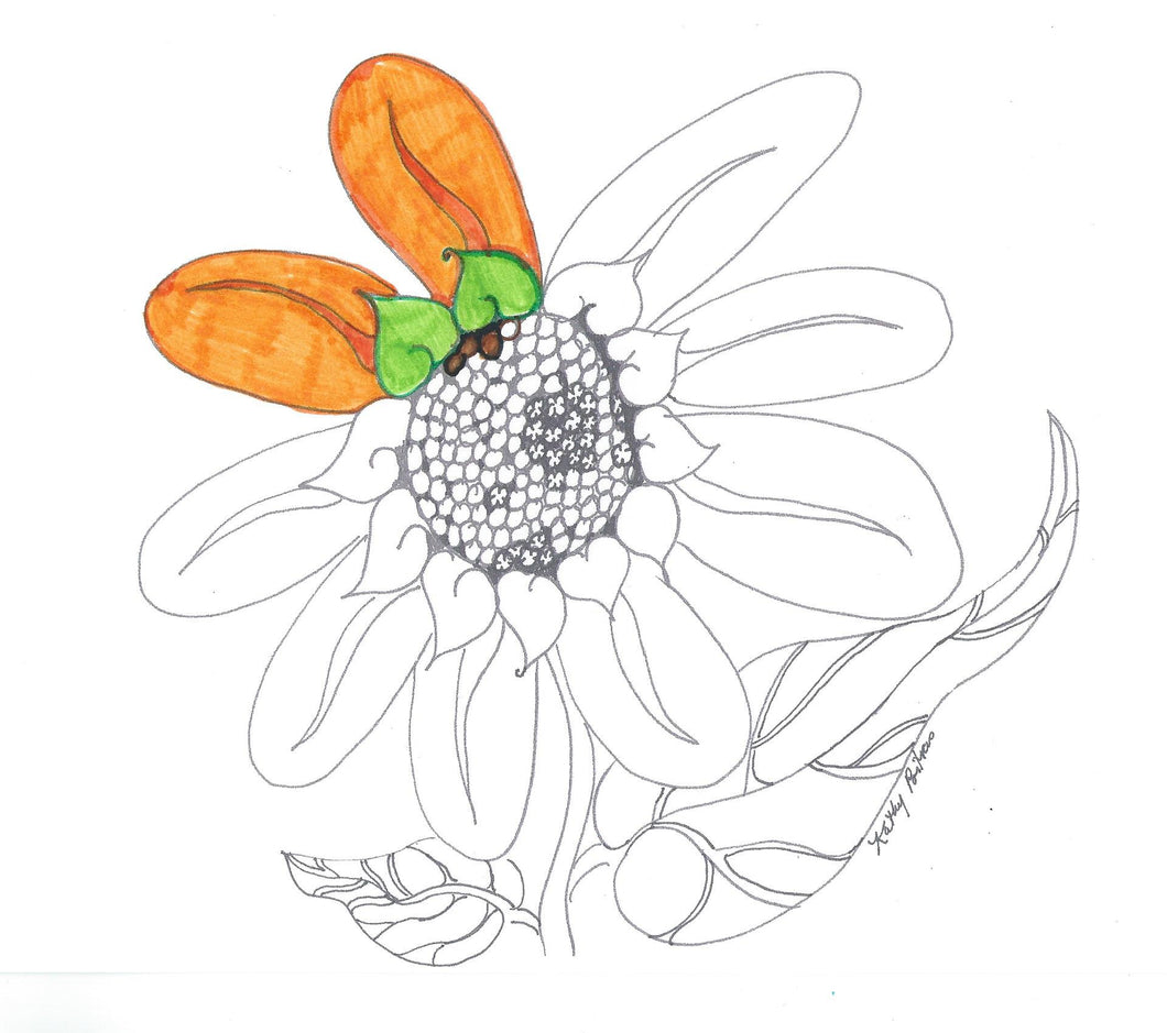 Printable color your own, naive fantasy folk art sunflower.