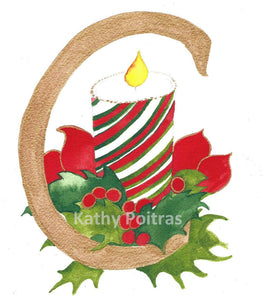 Wall art,  Illustrated letter  C for Christmas Candle  Inspired by Christmas.  An illustrated letter C with a candy cane patterned candle.  Surrounded with some poinsettia leave and holly. by artist Kathy Poitras