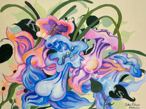 A concept of flowers , acrylic on  48x 36 inch gallery canvas. Abstract daffodil inspired flowers in pink and blue.