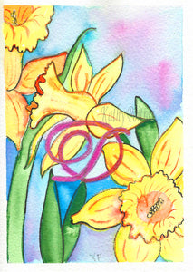Greeting Card, Birthday Card, Mothers Day Card, Daffodils inspired by the birth flower of the month for March. Watercolor and ink.  This greeting card is an individual painting, watercolor and ink painted on arches 100% cotton paper.  personalized with a fancy letter D as part of the painting.  by artist Kathy Poitras.