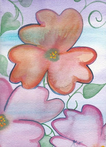 Orange with pinks 5 x 7 inch watercolor floral expression art card.