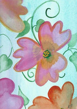 Pink floating flowers on a blue green background.  one of a kind watercolor art card