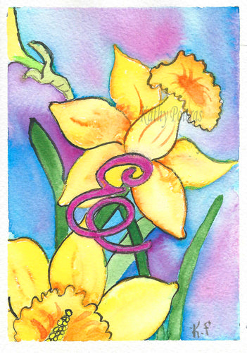 Greeting Card, Birthday Card, Mothers Day Card, Daffodils are the birth flower of the month for March. This flower of the month card is personalized with a fancy letter E.   by artist Kathy Poitras