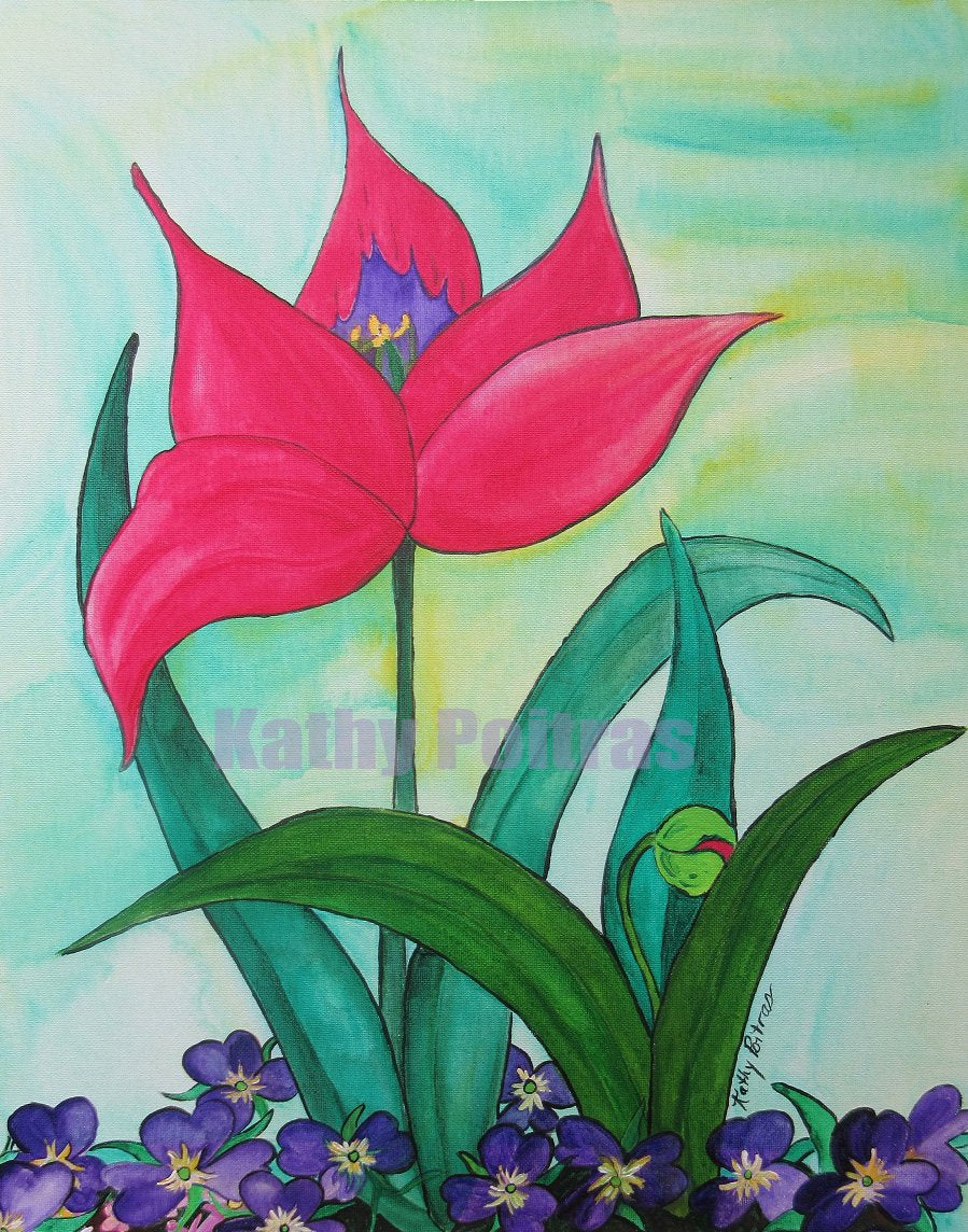 wall art of elegant red tulip with a budding tulip in front of it, growing from a bed of purple pansies.  Folk art by Kathy Poitras