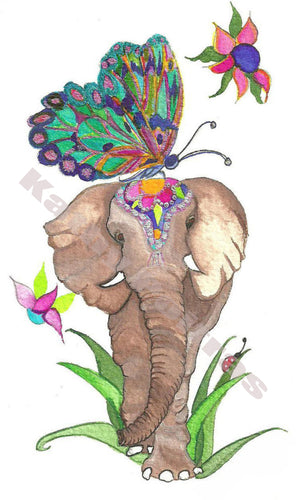 Cutey Eyed Elephant and Butterfly