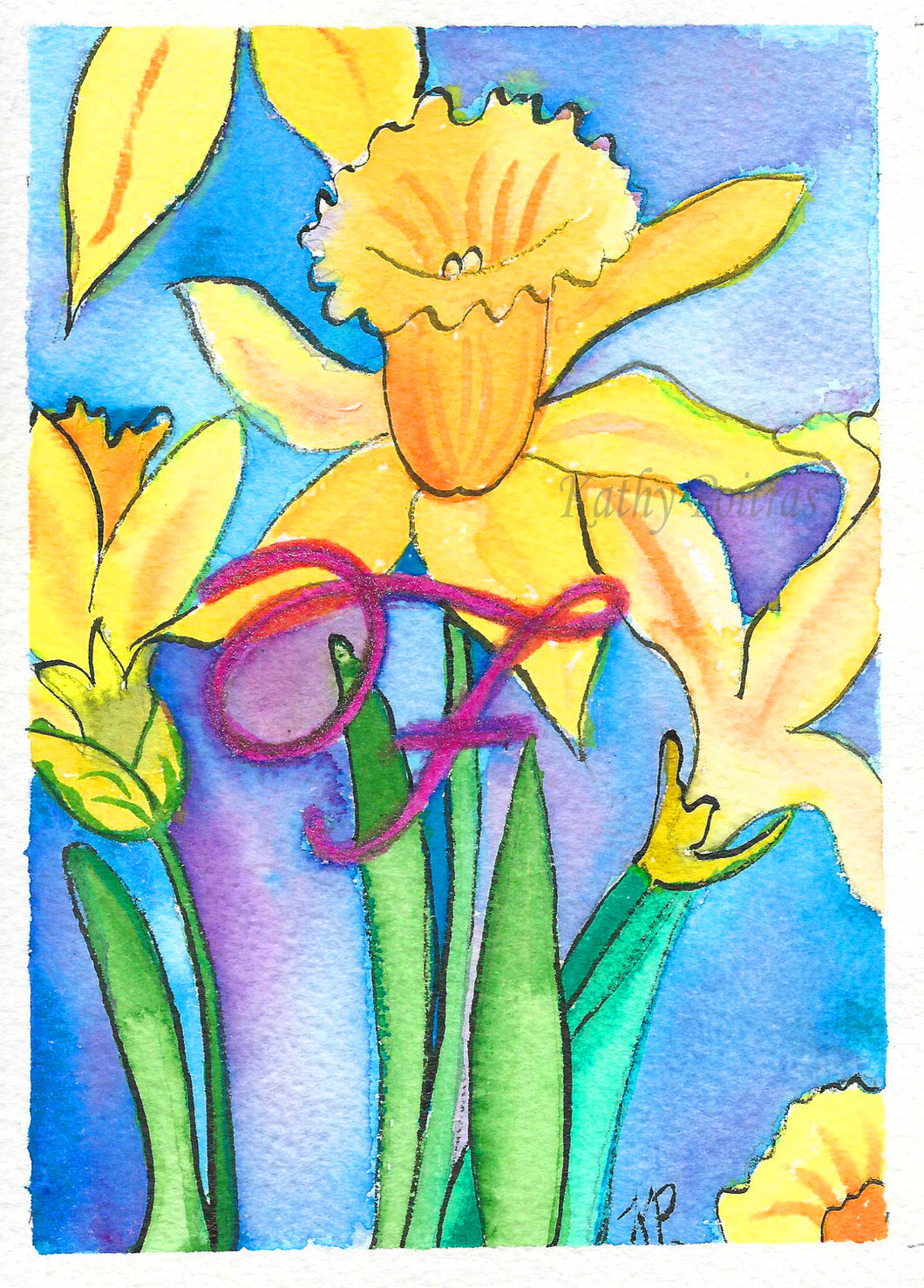 Greeting Card, Birthday Card, Mothers Day Card, Daffodils are the flower of the month for March. This flower of the month card is personalized with a fancy letter F.   by artist Kathy Poitras