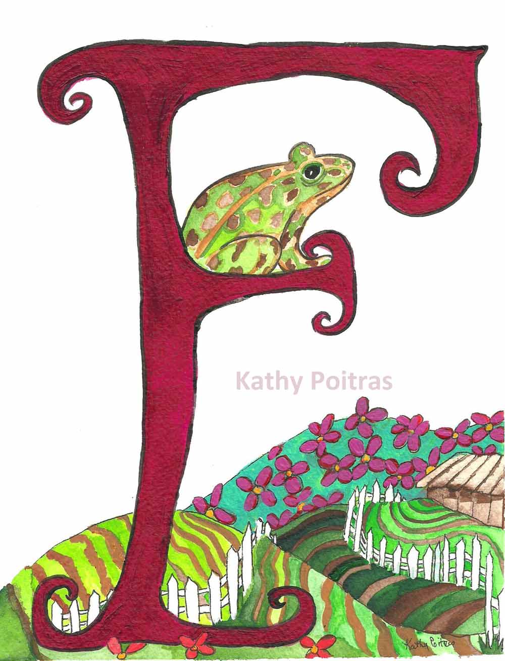 illustrated F is for Frog, Farm, Flowers and Fence.